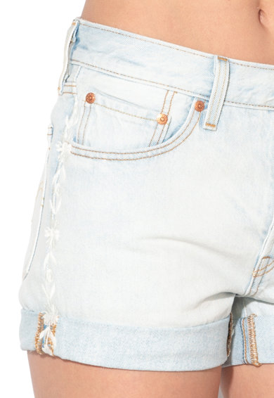 Levi's Pantaloni scurti din denim cu talie medie si broderii florale 501® Femei