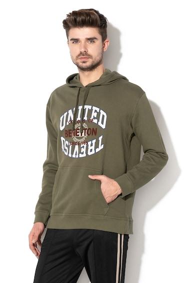 United Colors of Benetton Szövegmintás kapucnis pulóver férfi