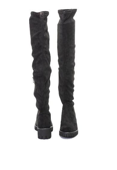 Tamaris Cizme lungi peste genunchi, de piele intoarsa ecologica, cu talpa aderenta Femei