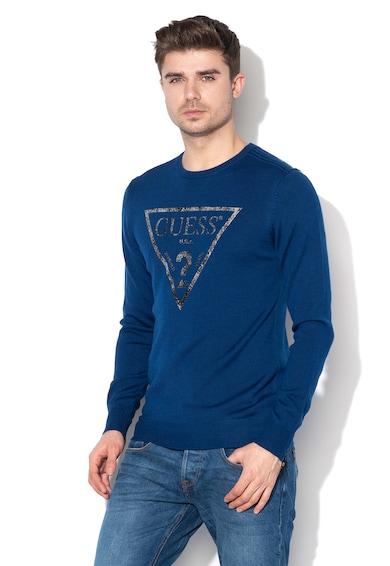 GUESS JEANS Пуловер с вълна и лого Мъже
