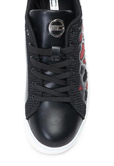 Enrico Coveri Taylor műbőr sneakers cipő hímzett szívekkel női