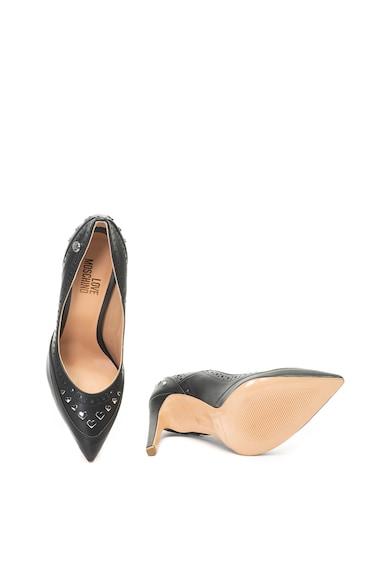 Love Moschino Hegyes orrú cipő szív alakú rátétekkel női