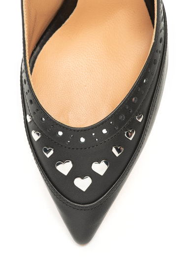 Love Moschino Кожени обувки със сърцевидни апликации Жени
