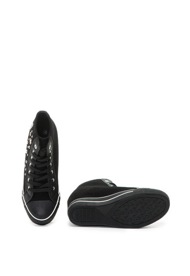 OMS by Original Marines Pantofi sport de piele intoarsa ecologica, cu decoratii si talpa wedge ascunsa Femei