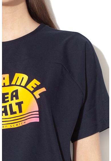 Maison Scotch Tricou crop lejer cu imprimeu text si logo Femei