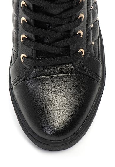 Guess Pantofi sport de piele, cu talpa wedge ascunsa si cu tinte Femei