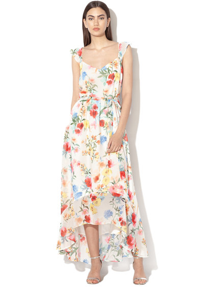 Esprit Rochie midi cu imprimeu floral si garnituri cu volane Femei