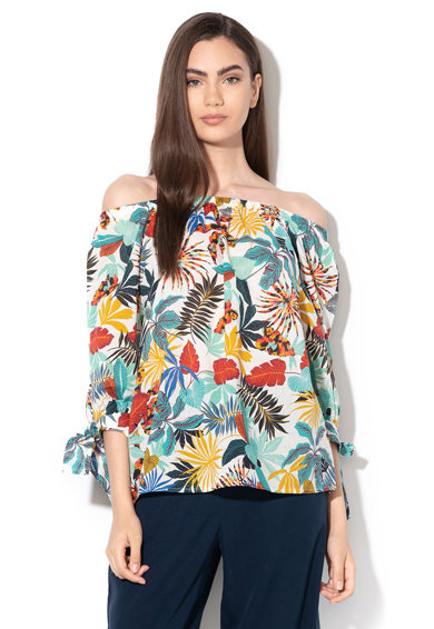 Esprit Bluza cu model tropical si decolteu pe umeri Femei