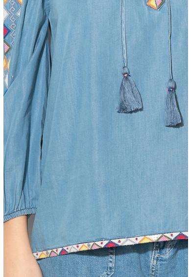 Pepe Jeans London Блуза с голи рамене и етно бродерия Жени