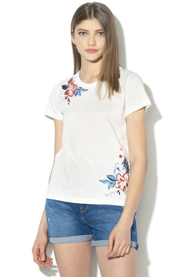 Pepe Jeans London Tricou cu broderii florale Dhalia Femei