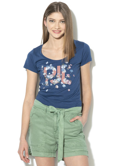 Pepe Jeans London Tricou cu imprimeu logo si floral Doreen Femei