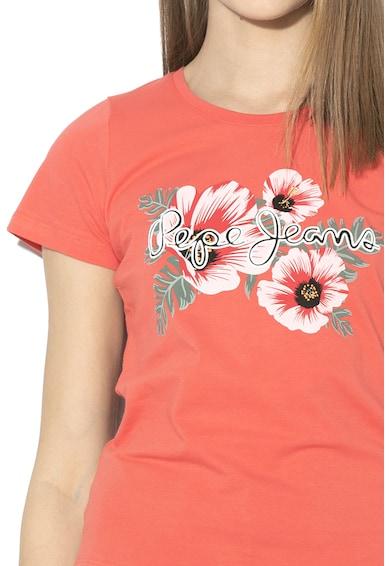 Pepe Jeans London Tricou cu imprimeu logo si floral Kaia Femei
