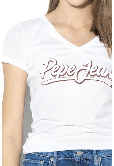 Pepe Jeans London Tricou cu decolteu in V si imprimeu logo Liz Femei