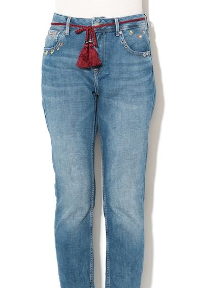 Pepe Jeans London Blugi mom fit cu talie inalta si terminatie cu franjuri Violet Sparks Femei