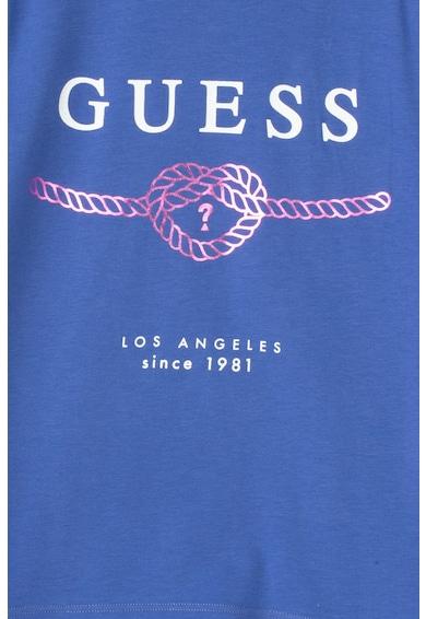 GUESS JEANS Tricou cu imprimeu logo si terminatie asimetrica Fete