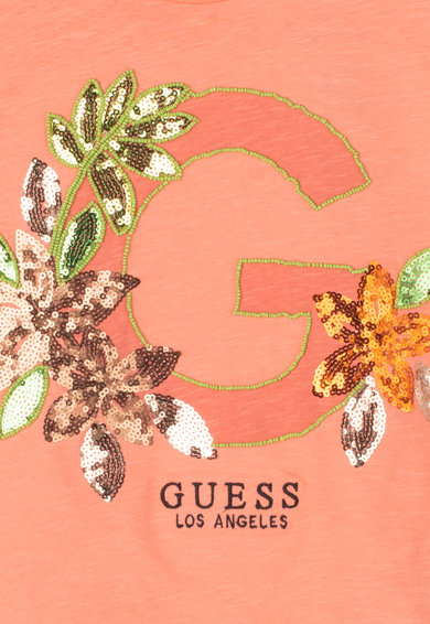 GUESS JEANS Top din bumbac cu margele si franjuri laterale Fete