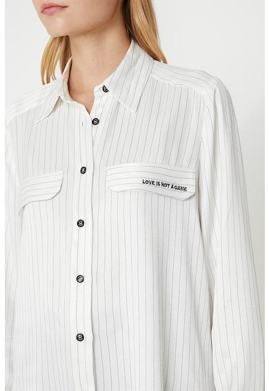 KOTON Camasa cu model in dungi si detaliu cu text Femei