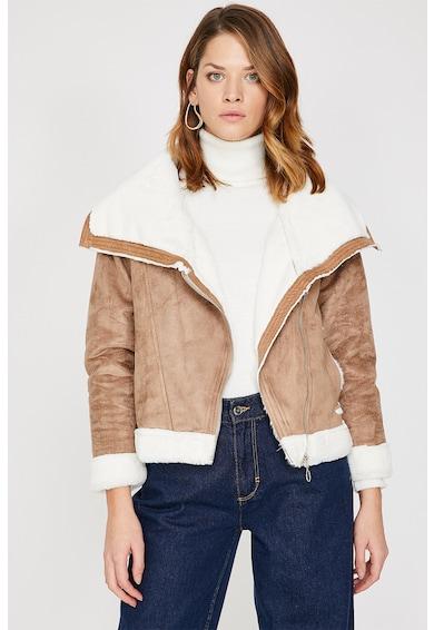 KOTON Jacheta din lana sherpa cu garnituri de blana sintetica Femei