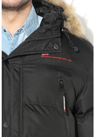 Geographical Norway Bravici cipzáras bélelt télikabát műszőrme szegéllyel férfi