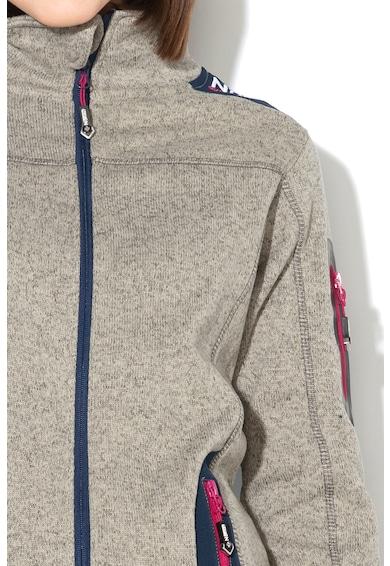 Geographical Norway Bluza sport cu fermoar si logo brodat Tebelle, Gri melange Femei