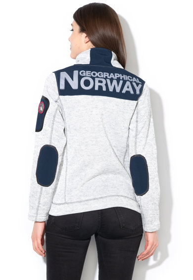 Geographical Norway Bluza sport cu fermoar si logo brodat Tebelle, Gri deschis melange -1 Femei