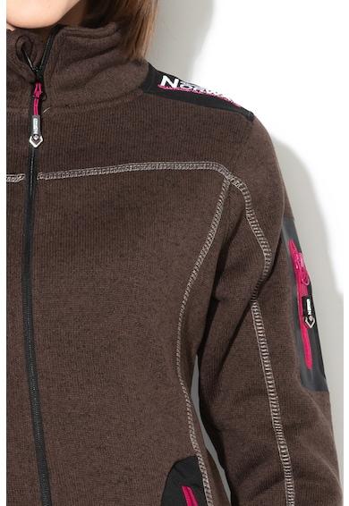 Geographical Norway Bluza sport cu fermoar si logo brodat Tebelle, Maro inchis, 1 Femei