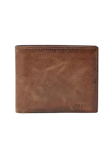 Fossil Derrick RFID félbehajtható bőr pénztárca nyomott logóval férfi