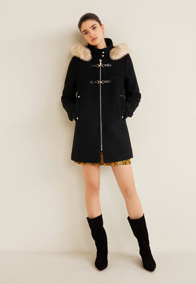 0bb0d8cc93 Woolperk gyapjútartalmú kabát műszőrme szegélyekkel - Mango ...