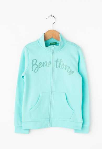 United Colors of Benetton Pulóver csillámló logómintával Lány
