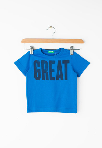United Colors of Benetton Tricou din bumbac organic, cu imprimeu contrastant cu text Baieti