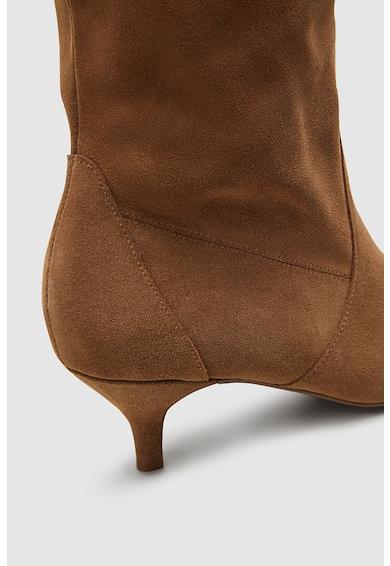NEXT Cizme pana la genunchi, de piele intoarsa, cu toc kitten Femei