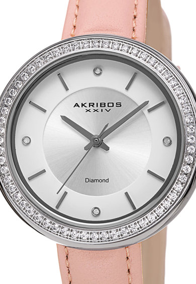 AKRIBOS XXIV Akribos, Ceas cu o curea de piele si coroana decorata cu cristale Femei