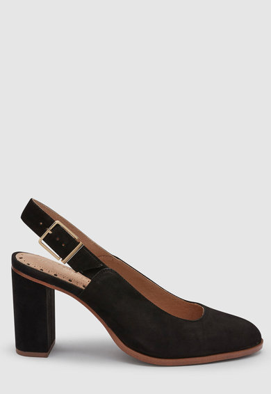 NEXT Nyersbőr sarokpántos cipő vastag sarokkal női