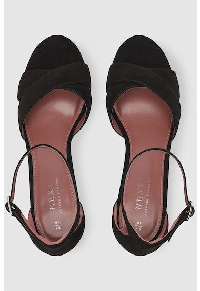 NEXT Sandale de piele intoarsa sintetica cu bareta pe glezna si toc masiv Femei