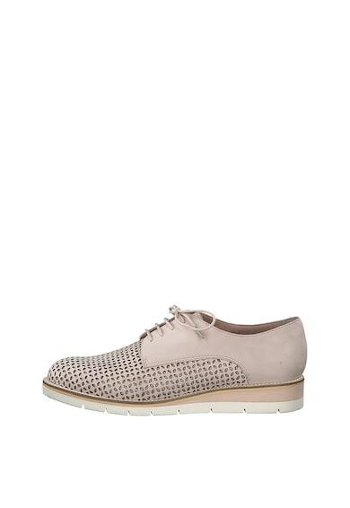 Tamaris Pantofi derby de piele cu perforatii Femei