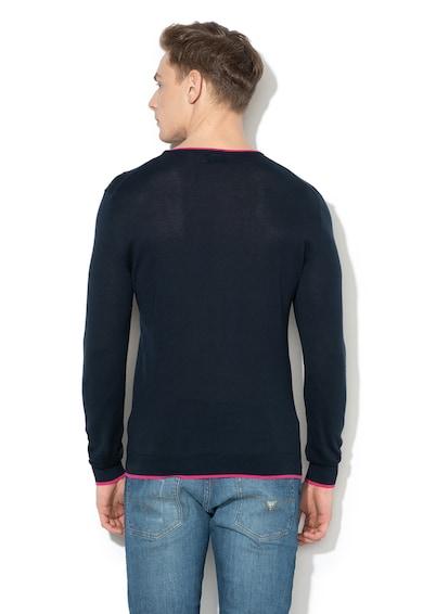 GUESS JEANS Pulover din tricot fin cu decolteu contrastant Barbati