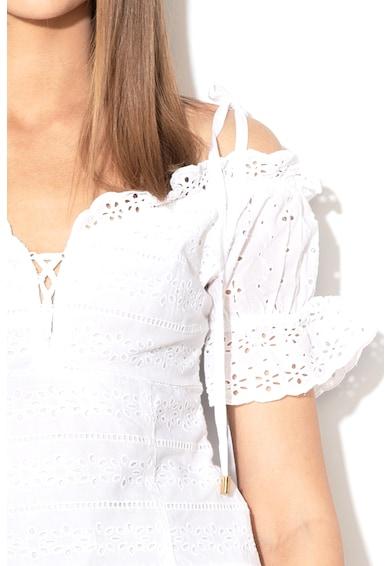 GUESS JEANS Bluza cu decupaje pe umeri si perforatii Femei