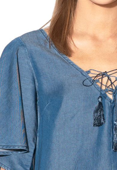 GUESS JEANS Bluza din chambray de lyocell, cu maneci clopot si canafi Femei