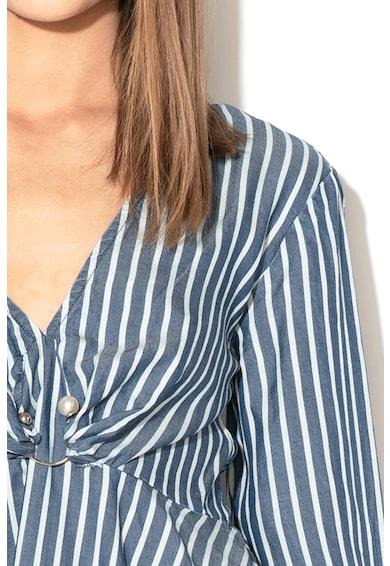 GUESS JEANS Bluza de lyocell, cu model in dungi si peplum Femei