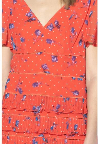 GUESS JEANS Virágmintás miniruha fodros részletekkel női