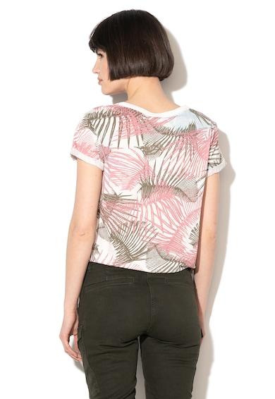 G-Star Raw Tricou din bumbac organic, cu imprimeu abstract si slit lateral Yiva Femei