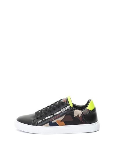 Guess Pantofi sport de piele ecologica cu imprimeu geometric Barbati