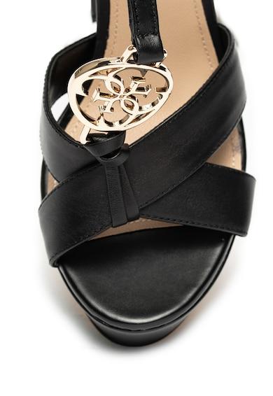 Guess Sandale de piele ecologica cu bareta in T si toc masiv Femei