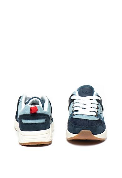 Pepe Jeans London Pantofi sport de piele intoarsa si denim David Fete