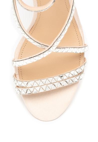 Guess Sandale de piele intoarsa ecologica cu barete multiple si strasuri Femei