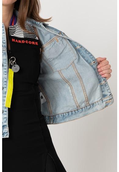 Diesel Jacheta din denim si catifea, cu aspect decolorat si deteriorat Femei