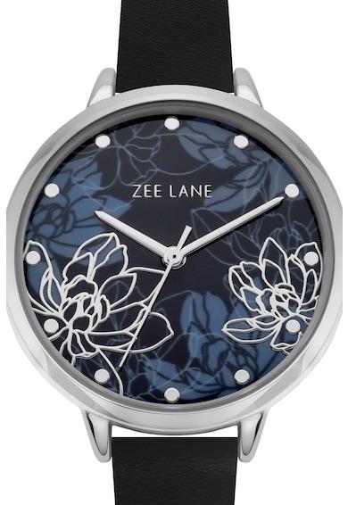 Zee Lane Ceas cu o curea de piele si model cu flori pe cadran Femei