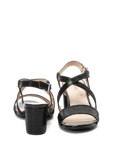 Caprice Sandale de piele, cu toc inalt si aspect stralucitor Femei