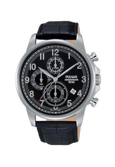 Pulsar Часовник с хронограф и кожена каишка Мъже