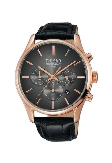 Pulsar Часовник с хронограф и шагрен на каишката Мъже